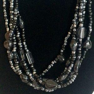 Vintage Black Metallic Bead Necklace